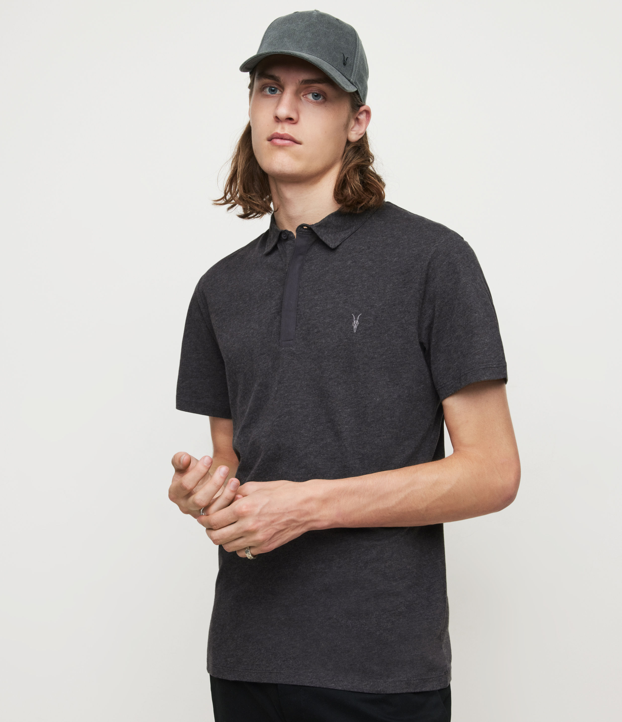 AllSaints Men's Cotton Regular Fit Brace Short Sleeve Polo Shirt, Grey, Size: M