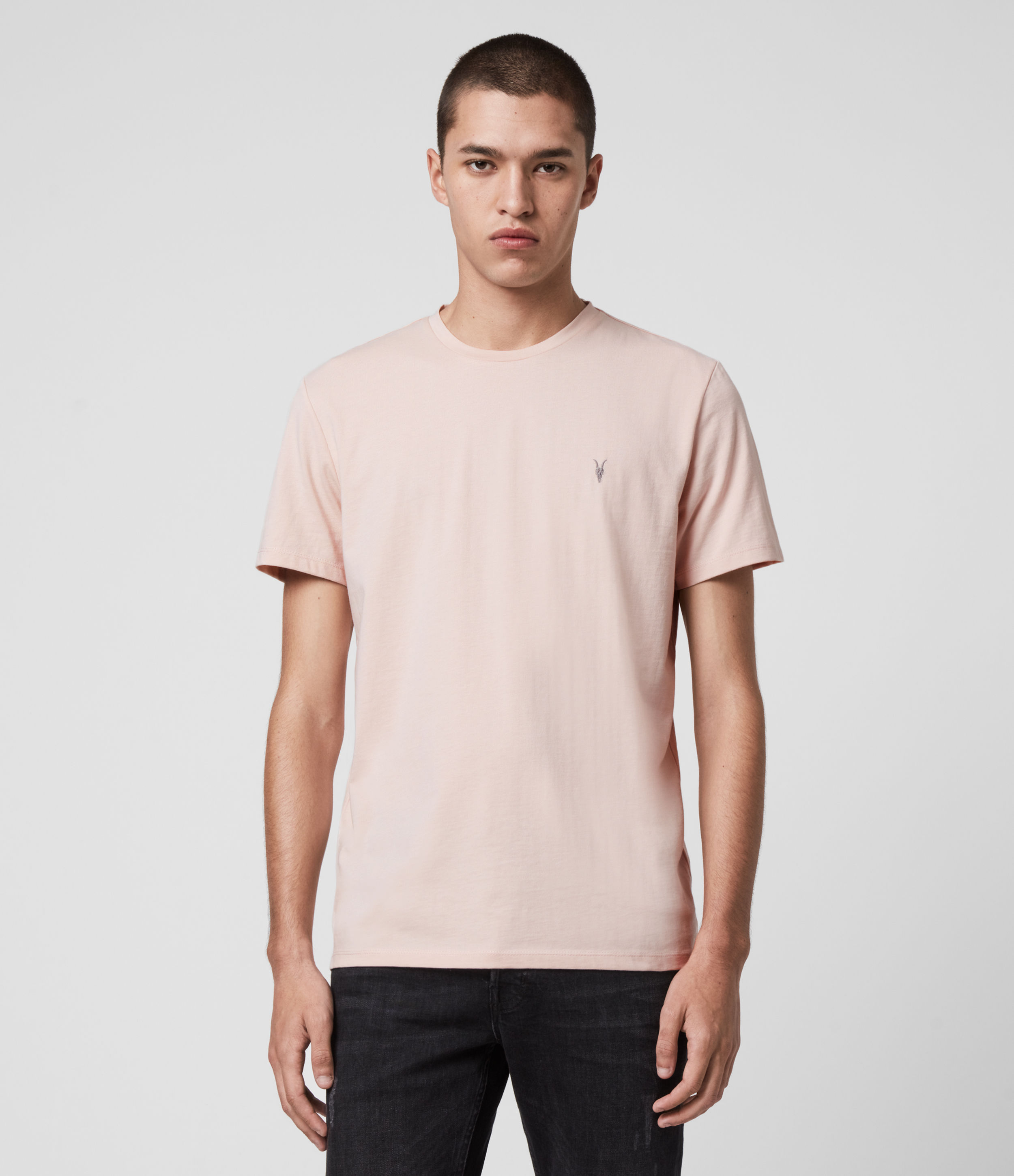 AllSaints Men's Cotton Laiden Crew T-Shirt, Pink, Size: XL
