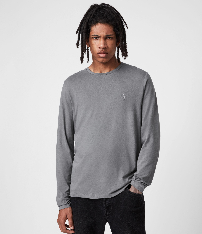AllSaints Men's Tonic Long Sleeve Crew T-Shirt, Sacremento Green, Size: L