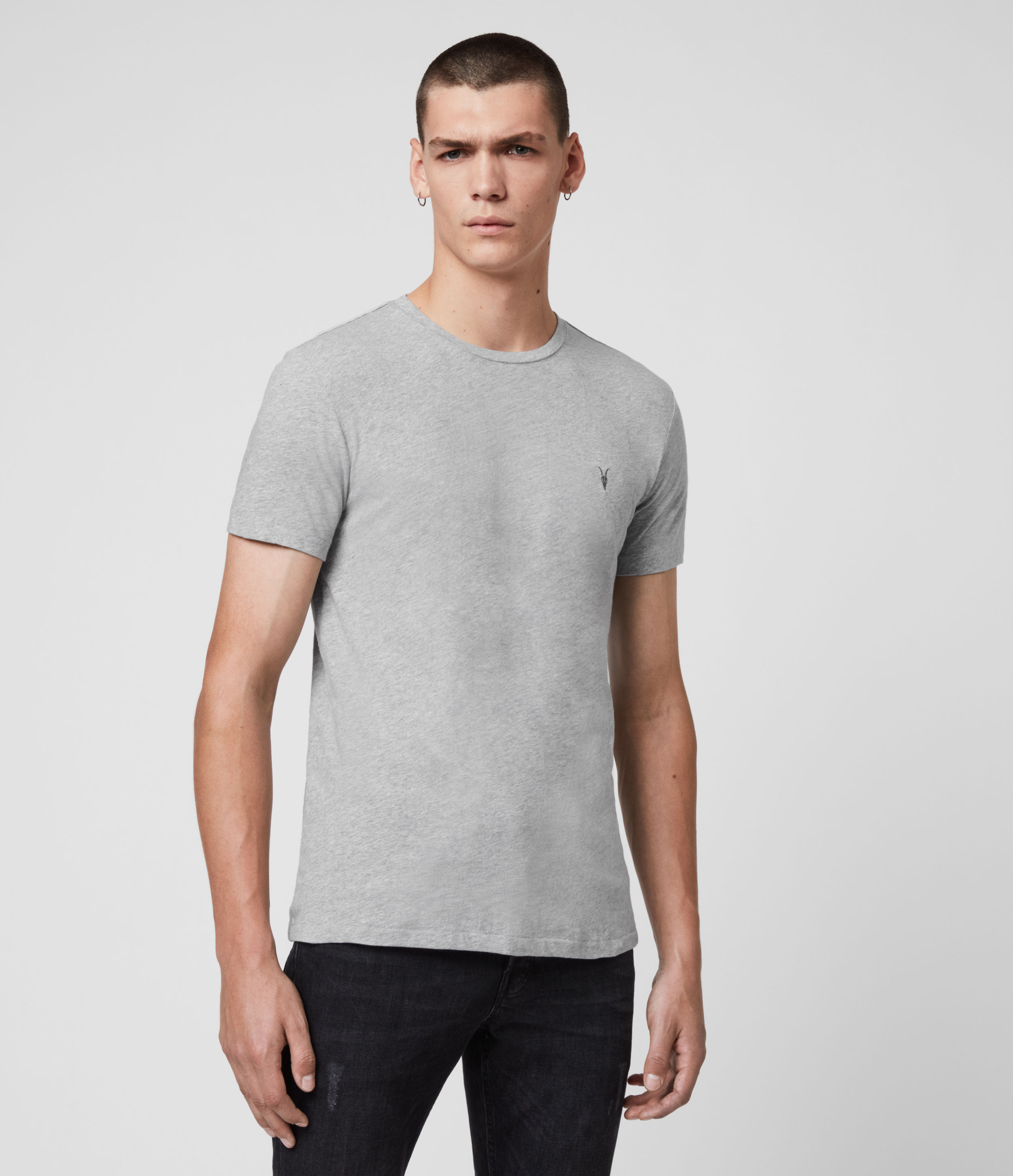 AllSaints Men's Soft Cotton Slim Fit Regular Tonic Short Sleeve Crew T-Shirt, Grey, Size: M