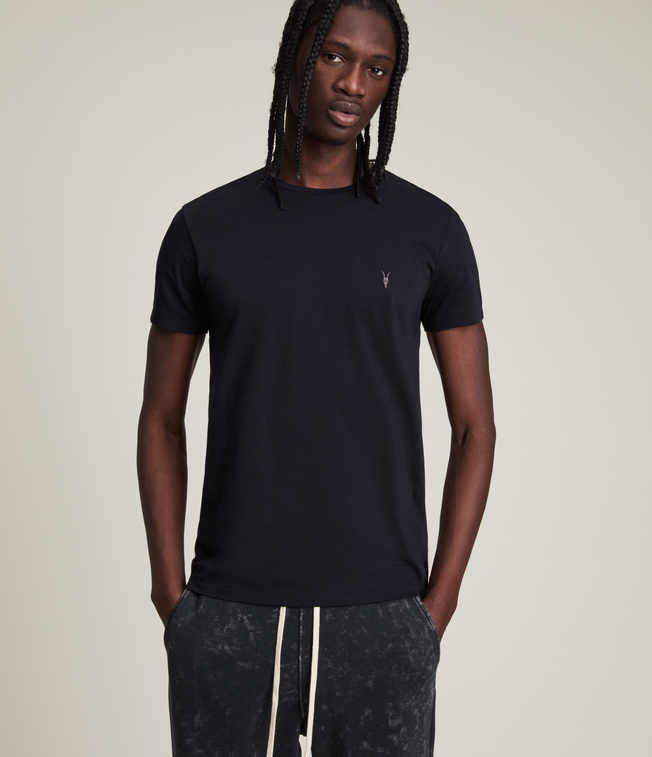 AllSaints Men's Cotton Slim Fit Regular Tonic Crew T-Shirt, Navy, Size: S
