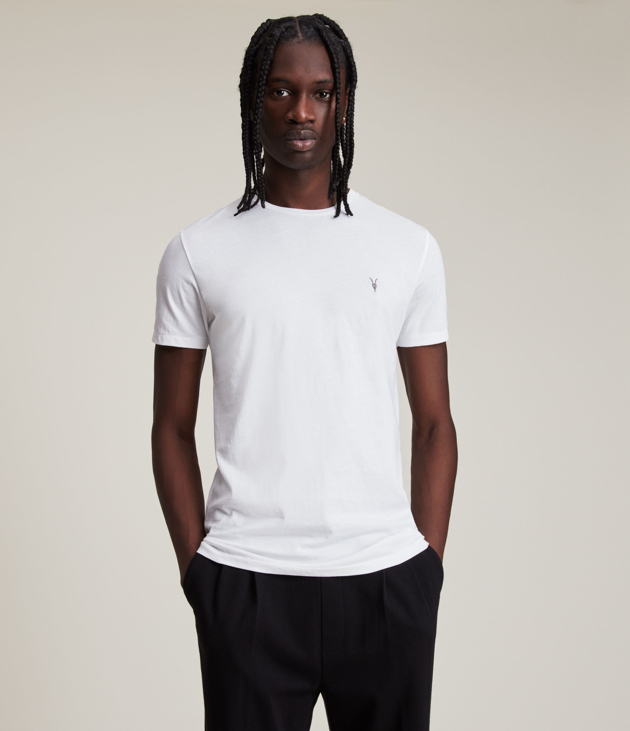 AllSaints Men's Cotton Slim Fit Regular Tonic Crew T-Shirt, White, Size: S