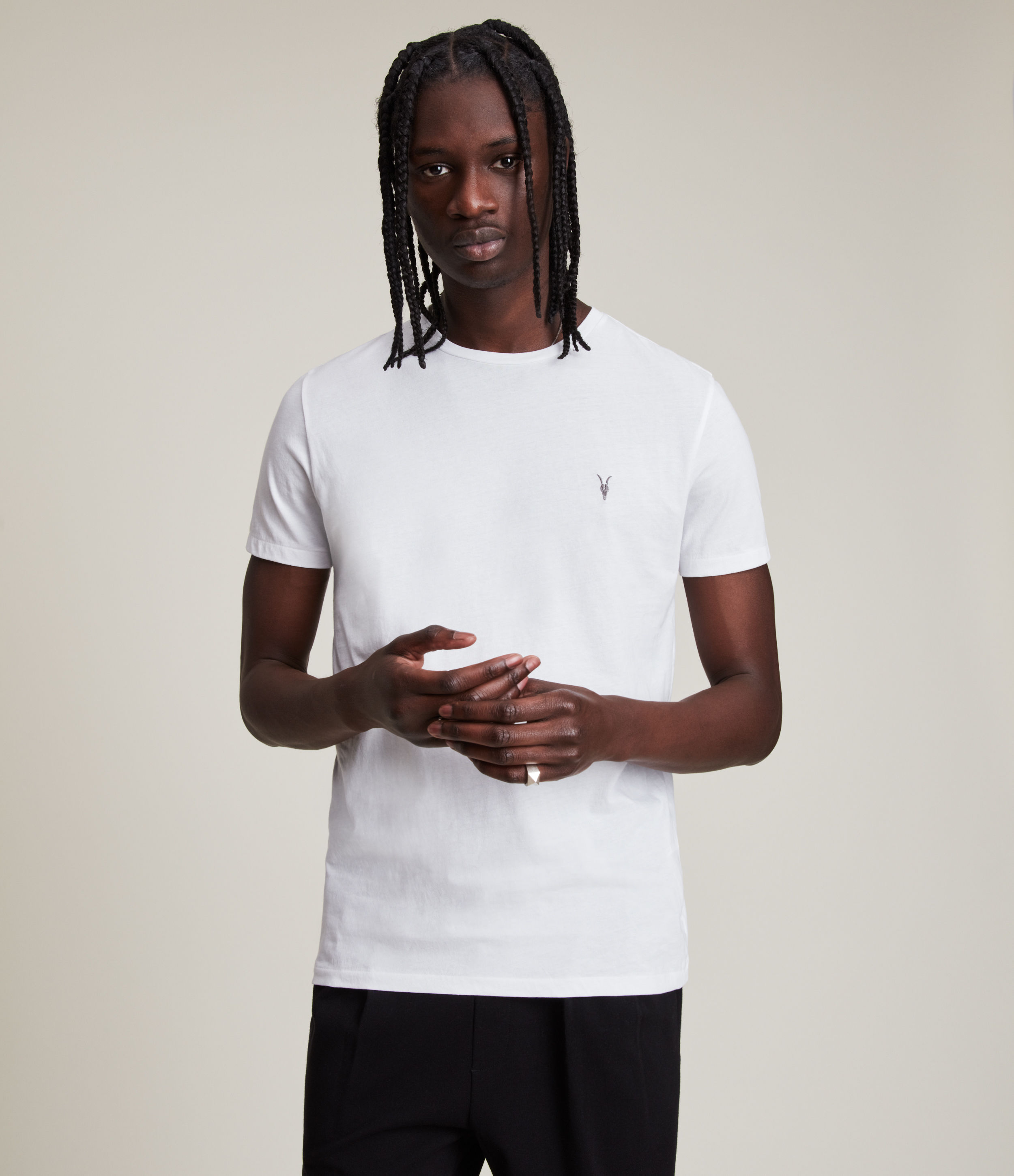 AllSaints Men's Cotton Slim Fit Regular Tonic Pullover Crew Neck T-Shirt, White, Size: S