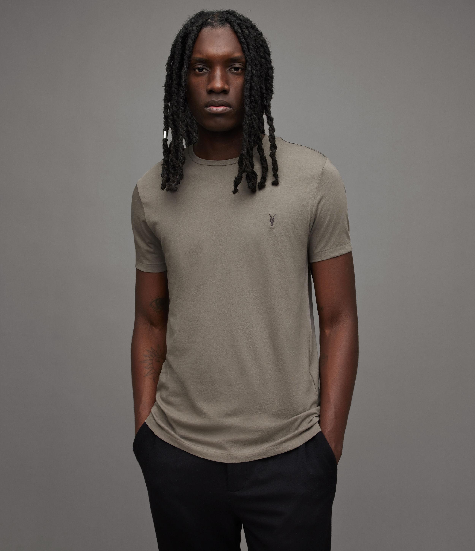AllSaints Men's Tonic Crew T-Shirt, Grey, Size: L