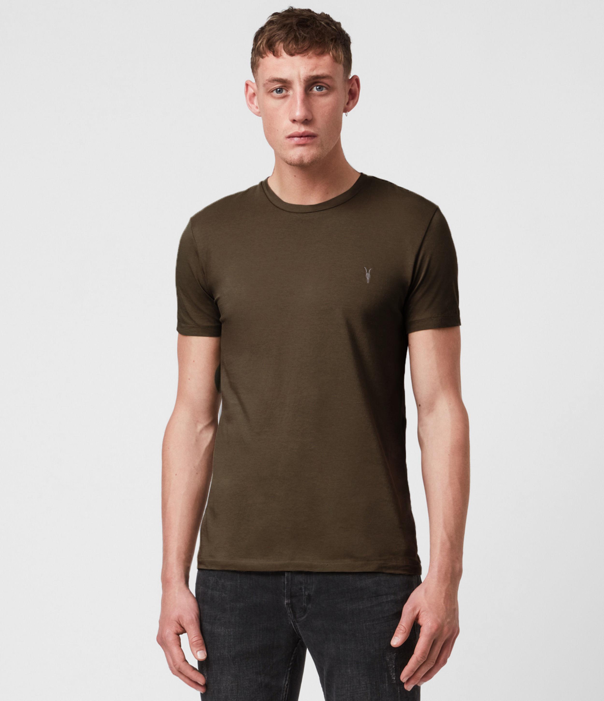 AllSaints Mens Tonic Crew T-Shirt, Birch Green, Size: L