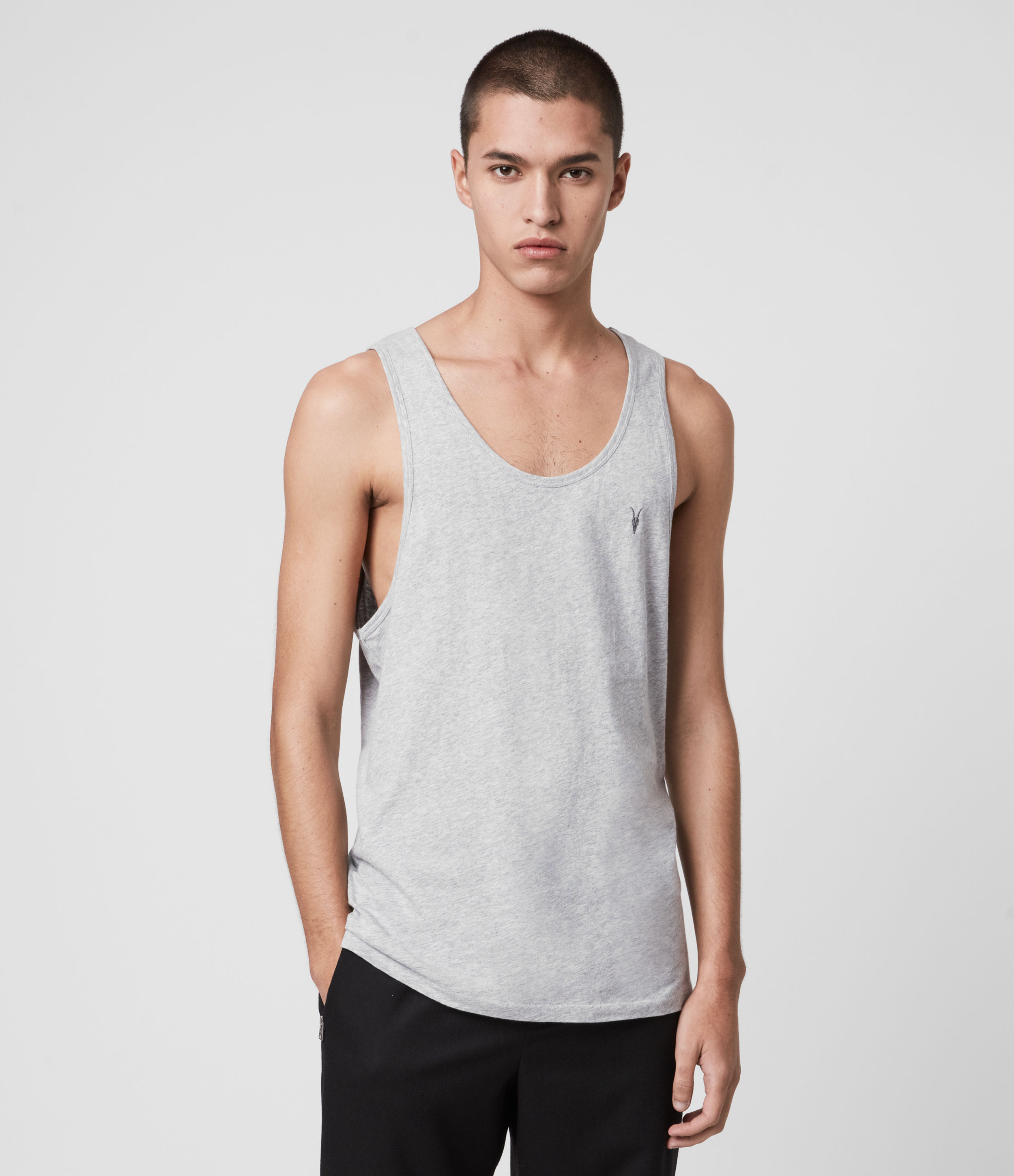 AllSaints Men's Cotton Lightweight Tonic Vest, Grey, Size: XXL