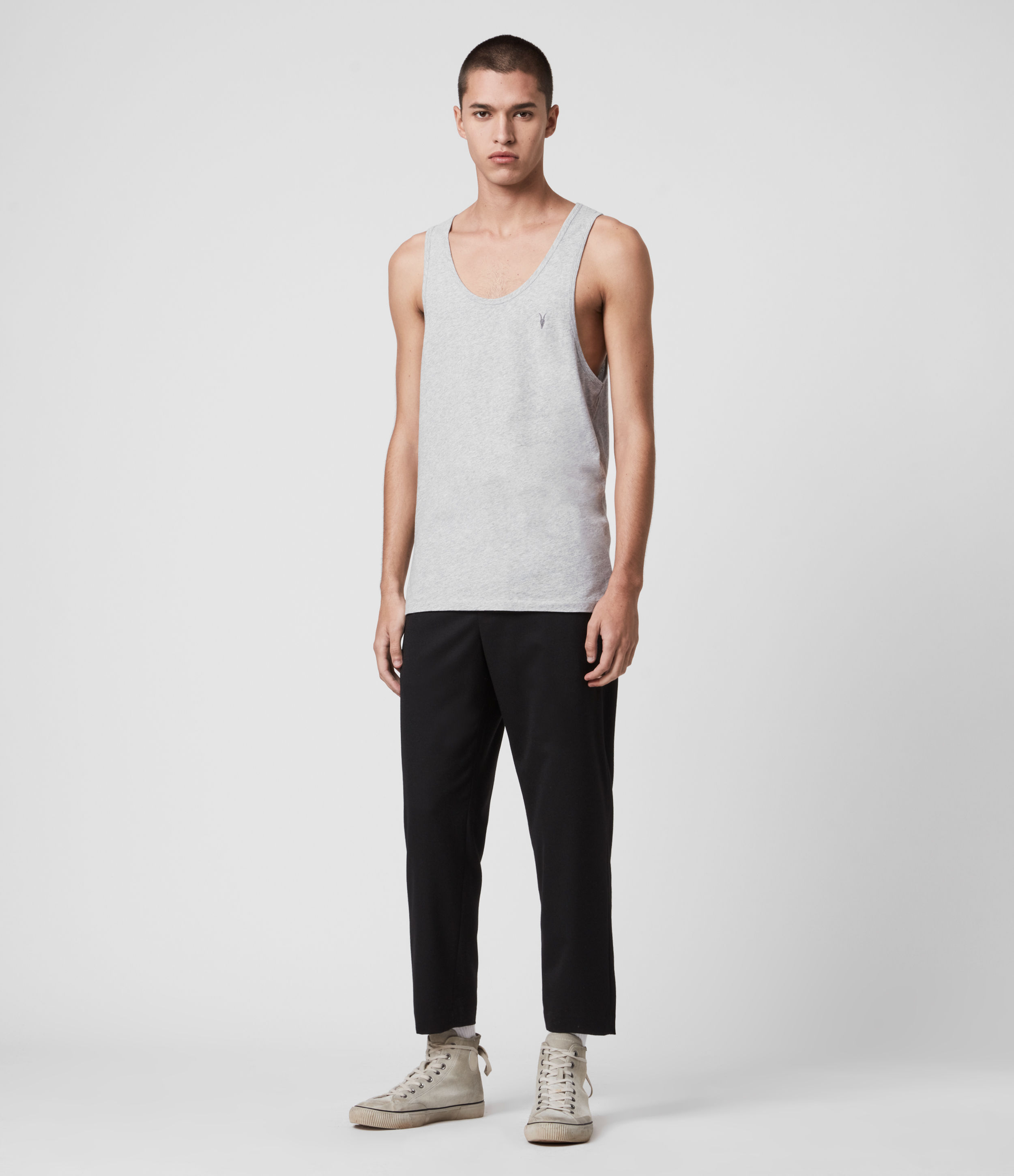 AllSaints Men's Cotton Lightweight Tonic Vest, Grey, Size: S