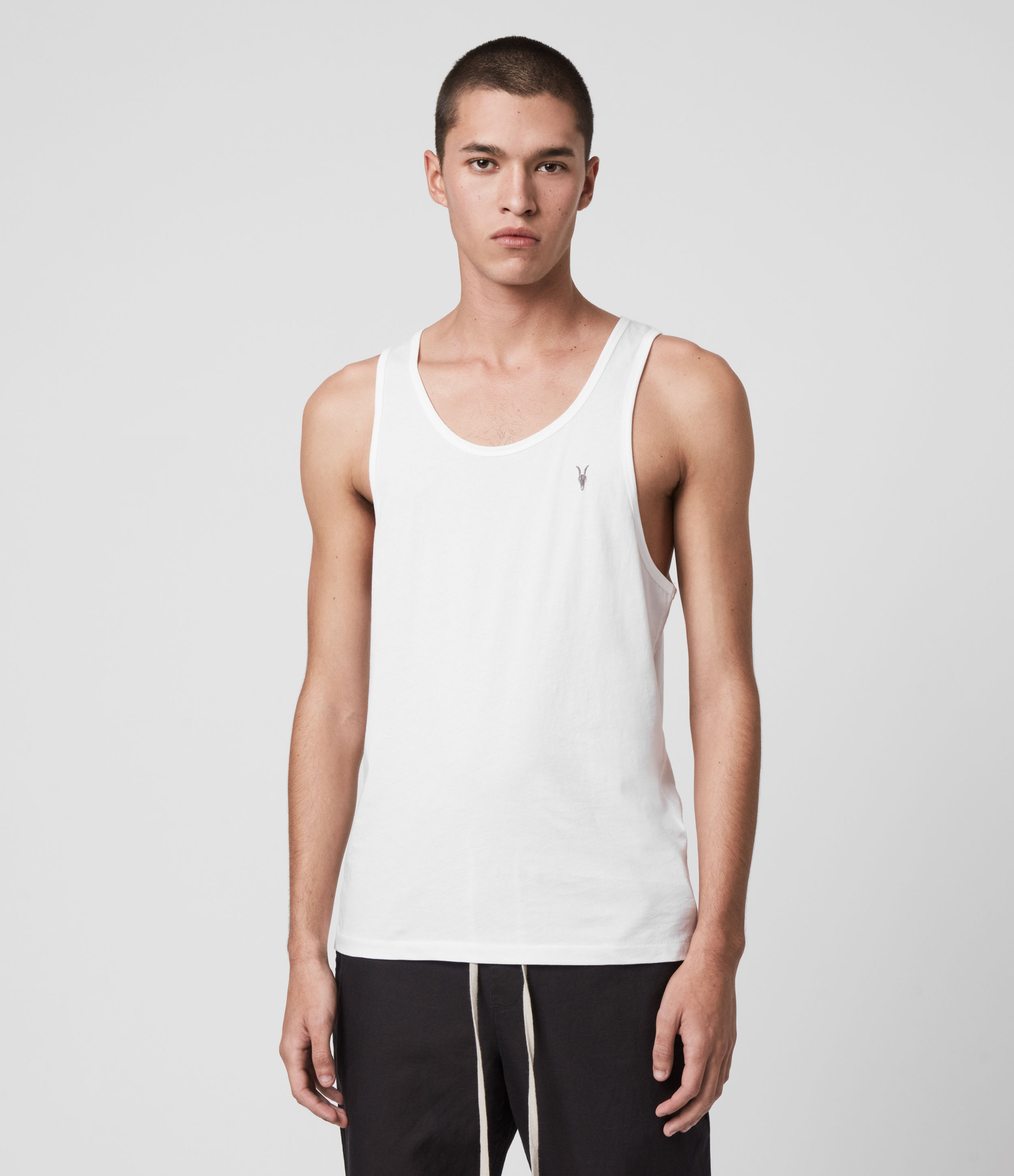 AllSaints Men's Cotton Regular Fit Lightweight Tonic Vest, White, Size: XXL