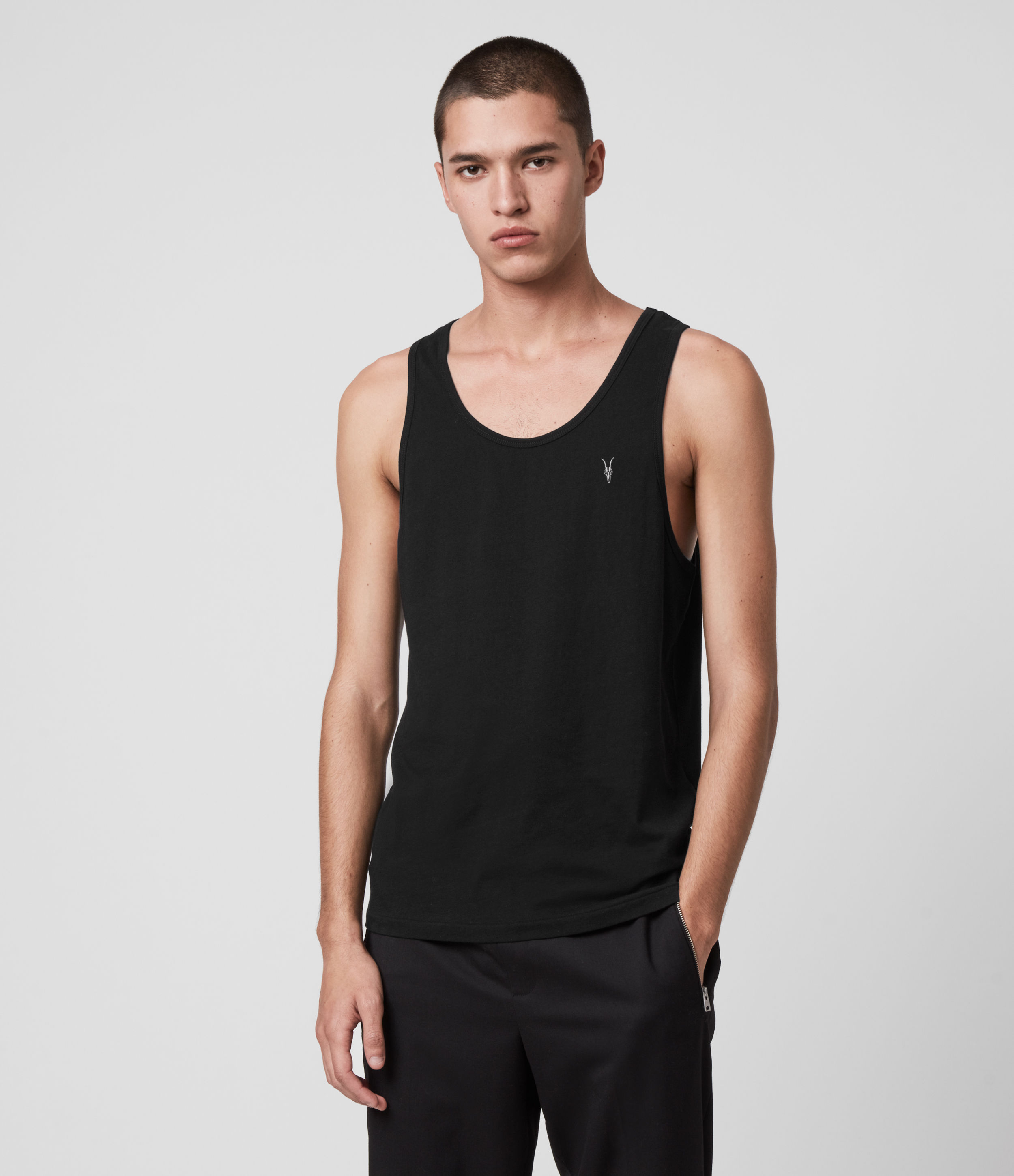 AllSaints Men's Cotton Lightweight Tonic Vest, Black, Size: XXL