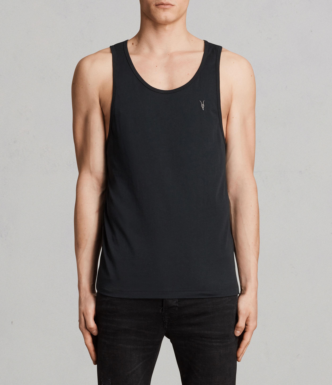 AllSaints Men's Cotton Regular Fit Lightweight Tonic Vest, Black, Size: XS