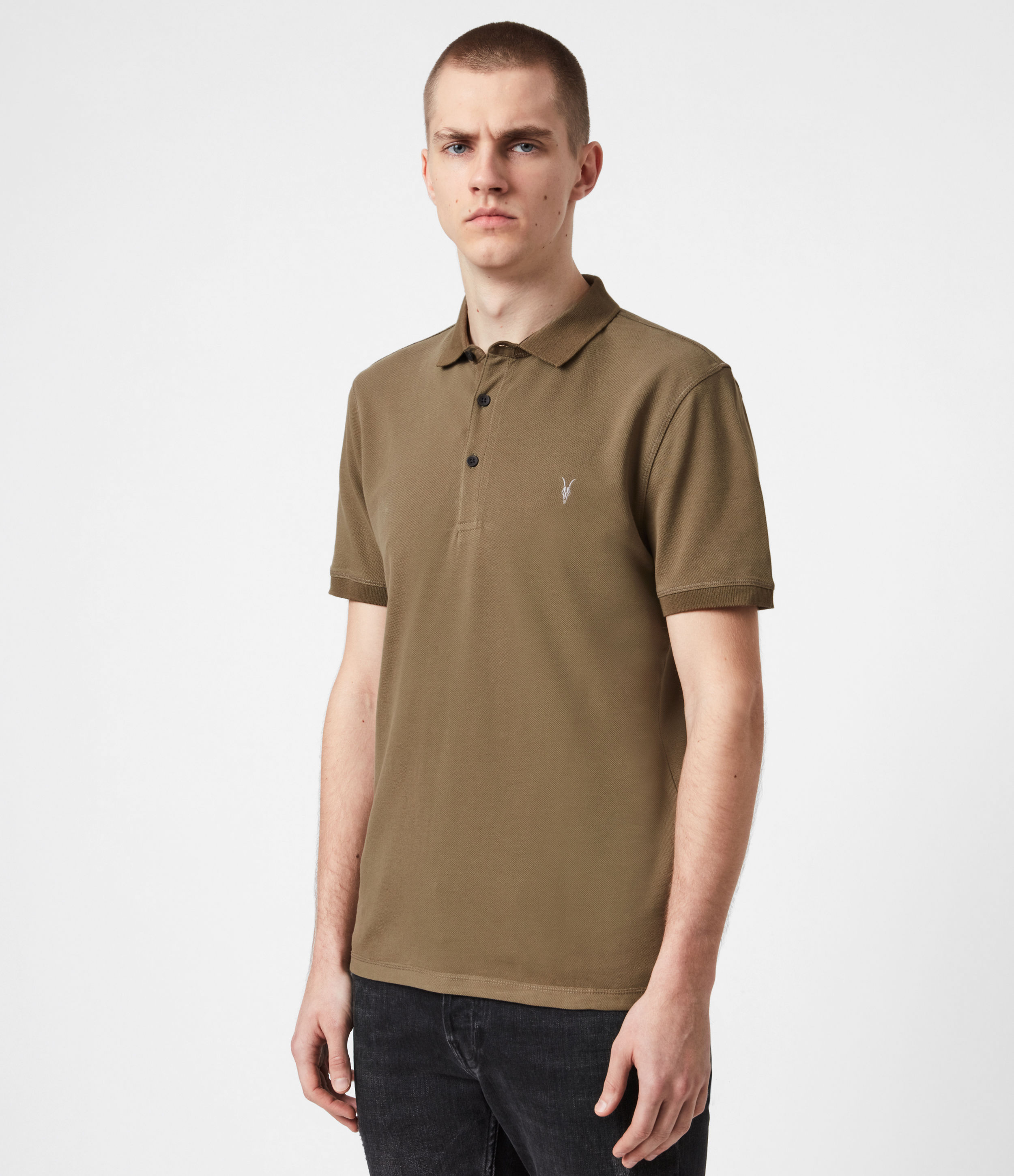 AllSaints Mens Reform Short Sleeve Polo Shirt, Saguaro Green, Size: XS