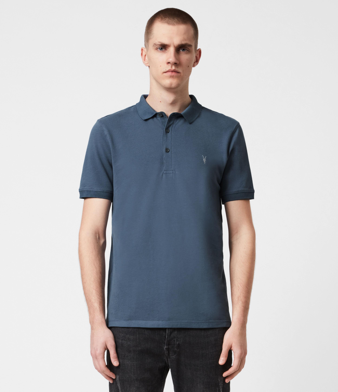 AllSaints Mens Reform Short Sleeve Polo Shirt, Misty Blue, Size: XL