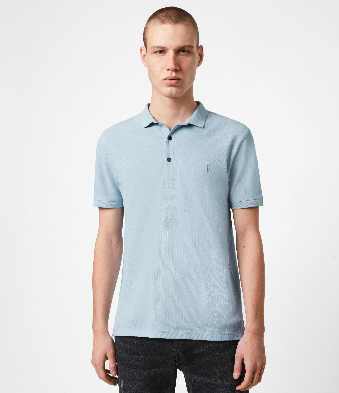 AllSaints Mens Reform Short Sleeve Polo Shirt, Pacific Blue, Size: M