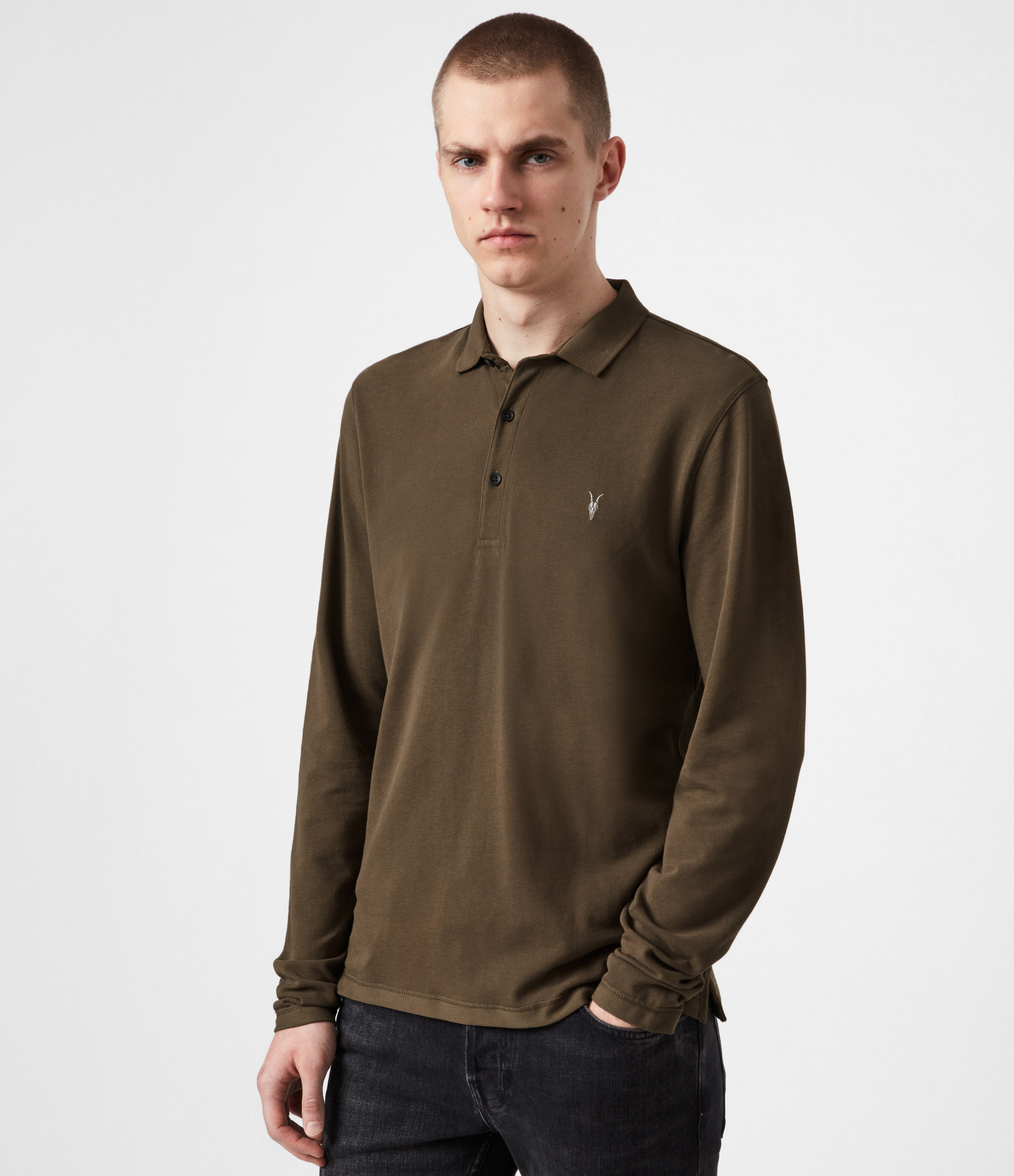 AllSaints Mens Reform Long Sleeve Polo Shirt, Totem Brown, Size: XL