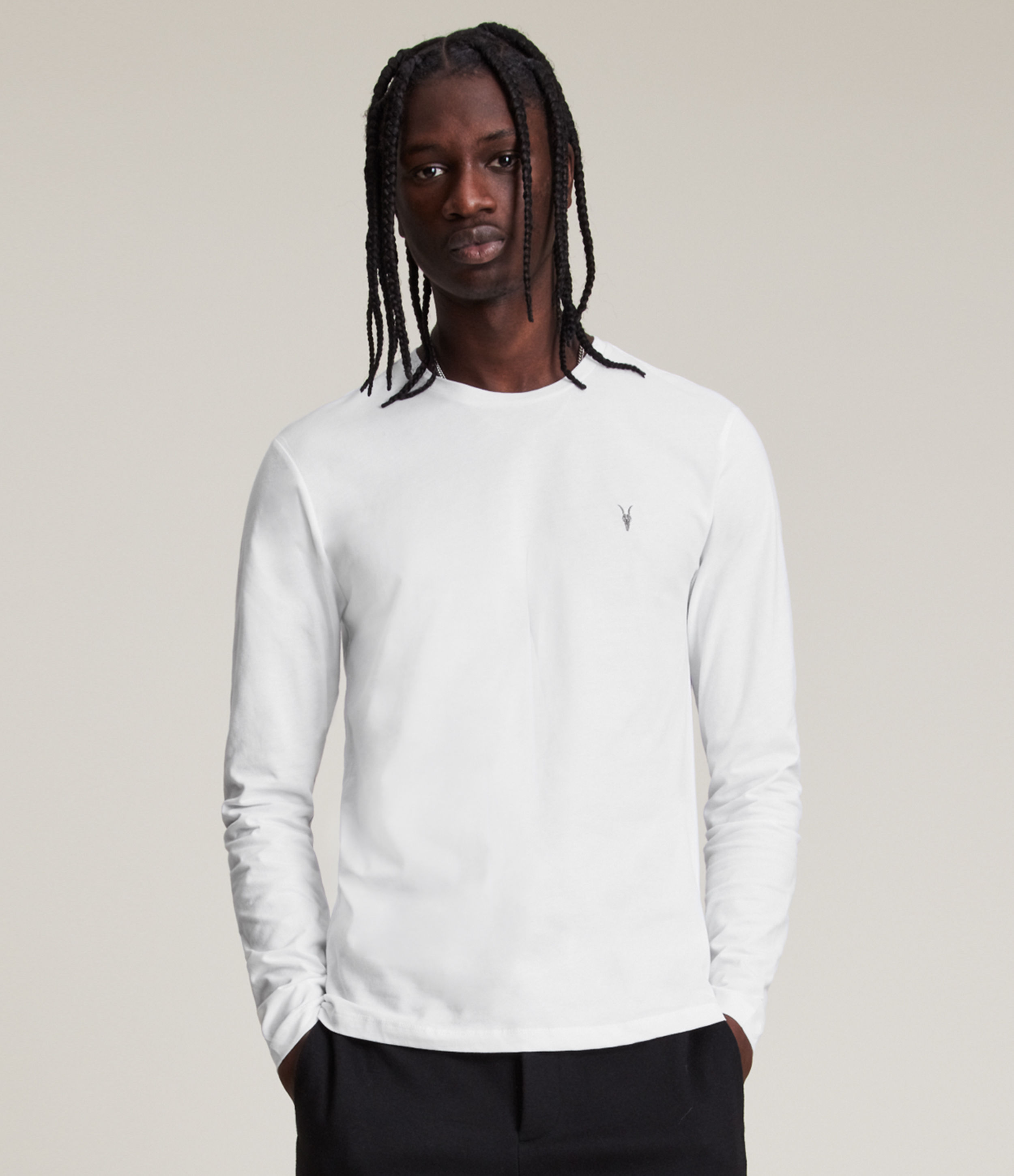 AllSaints Men's Cotton Regular Fit Brace Tonic Long Sleeve Crew T-Shirt, White, Size: S