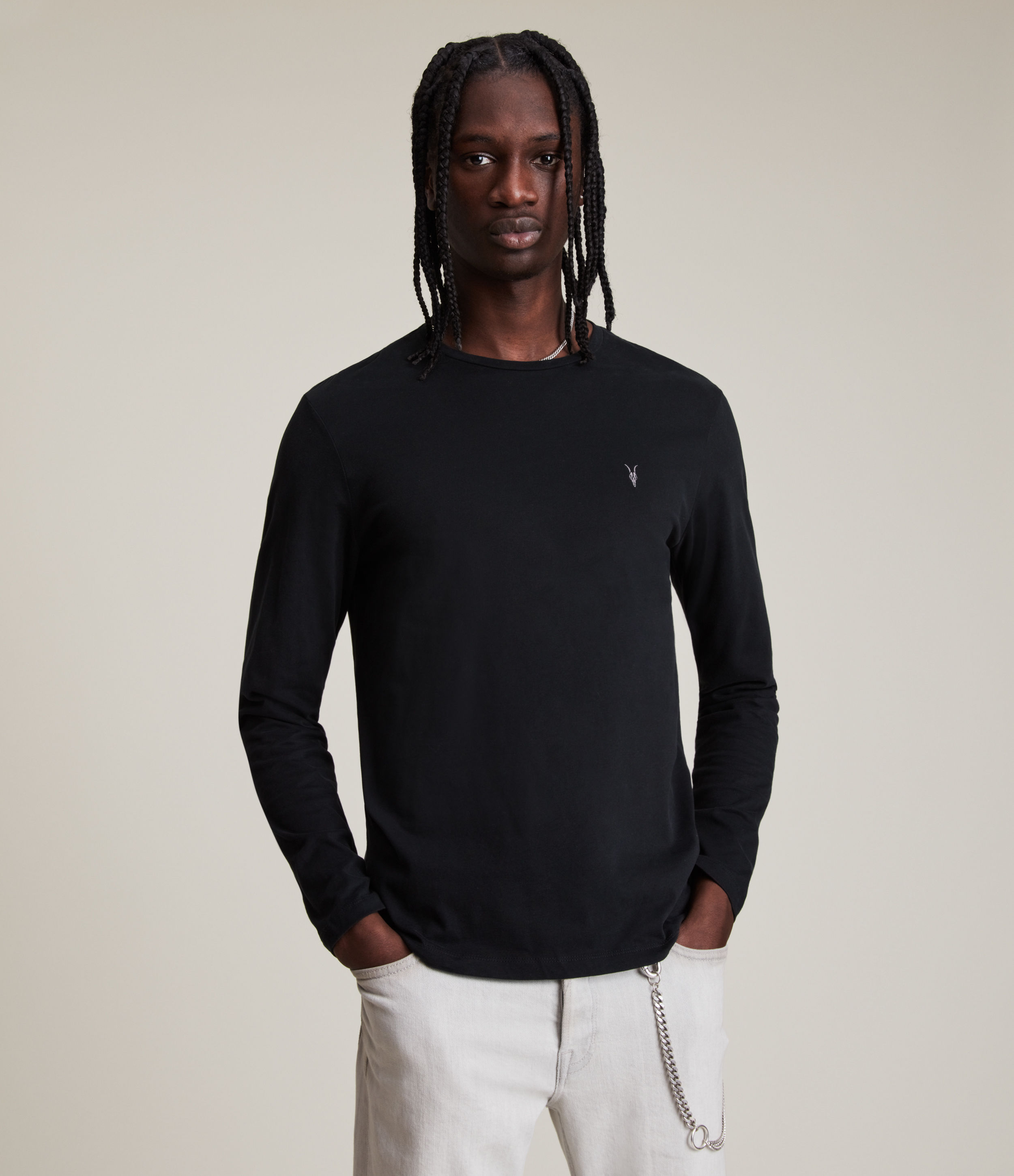 AllSaints Men's Cotton Regular Fit Brace Long Sleeve Tonic Crew T-Shirt, Black, Size: S