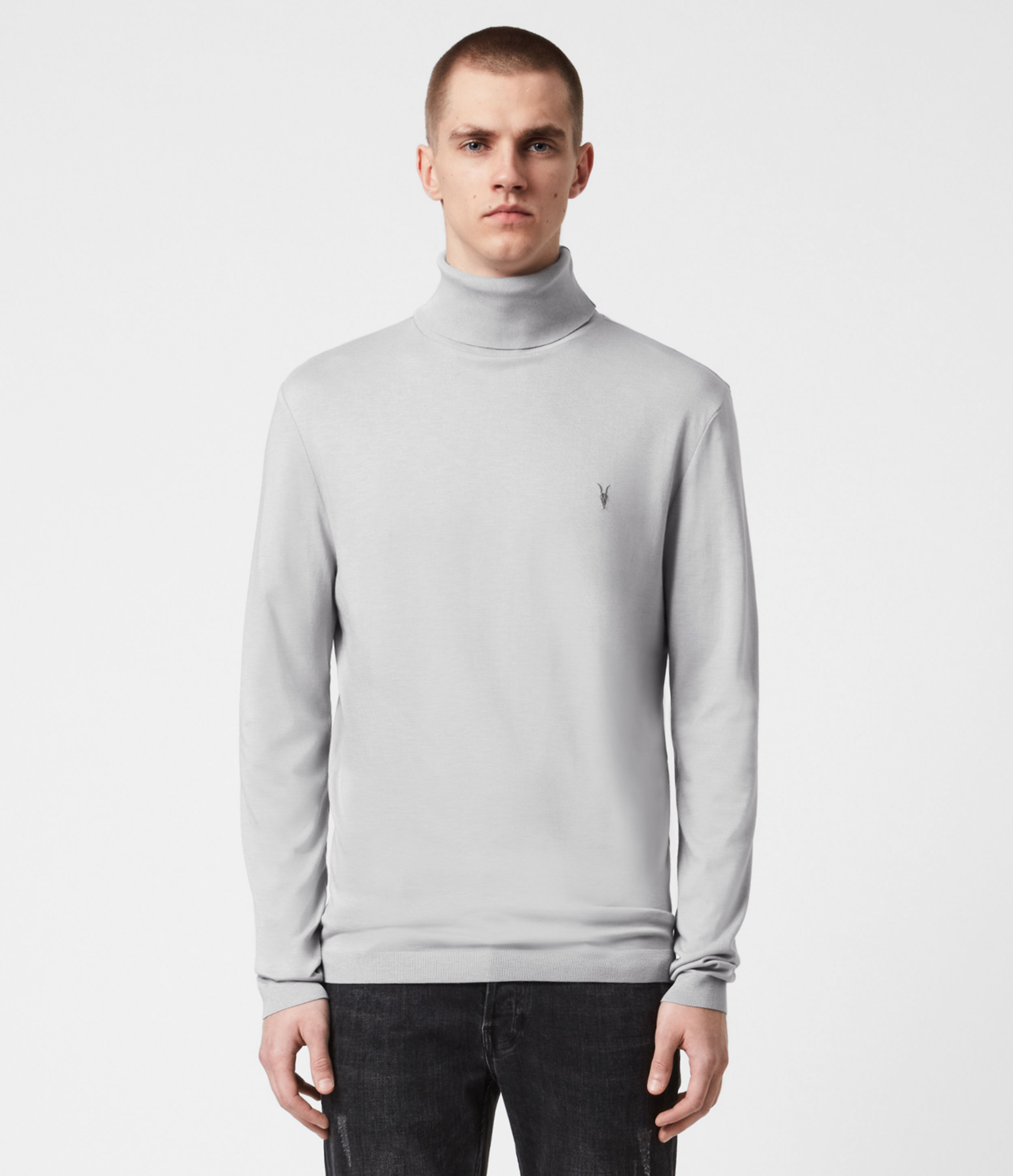 AllSaints Men's Cotton Embroidered Lightweight Parlour Roll Neck Top, Grey, Size: XS