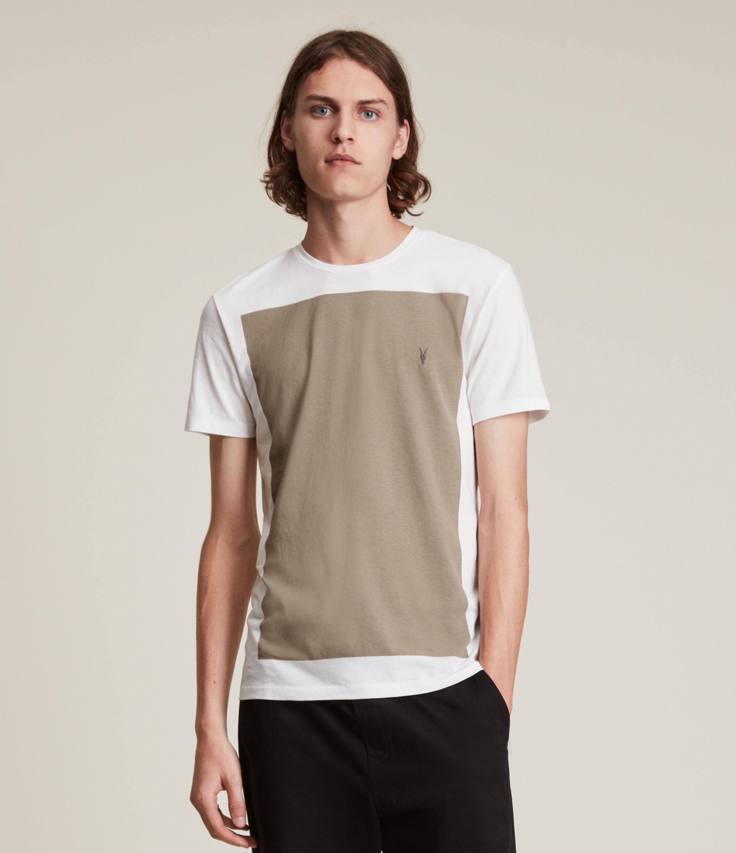 AllSaints Men's Lobke Crew T-Shirt, Chalk Wt/pavillion, Size: XS