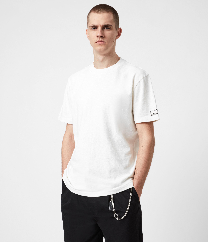 AllSaints Men's Cotton Relaxed Fit Seri Short Sleeve Crew Neck T-Shirt, White, Size: XS