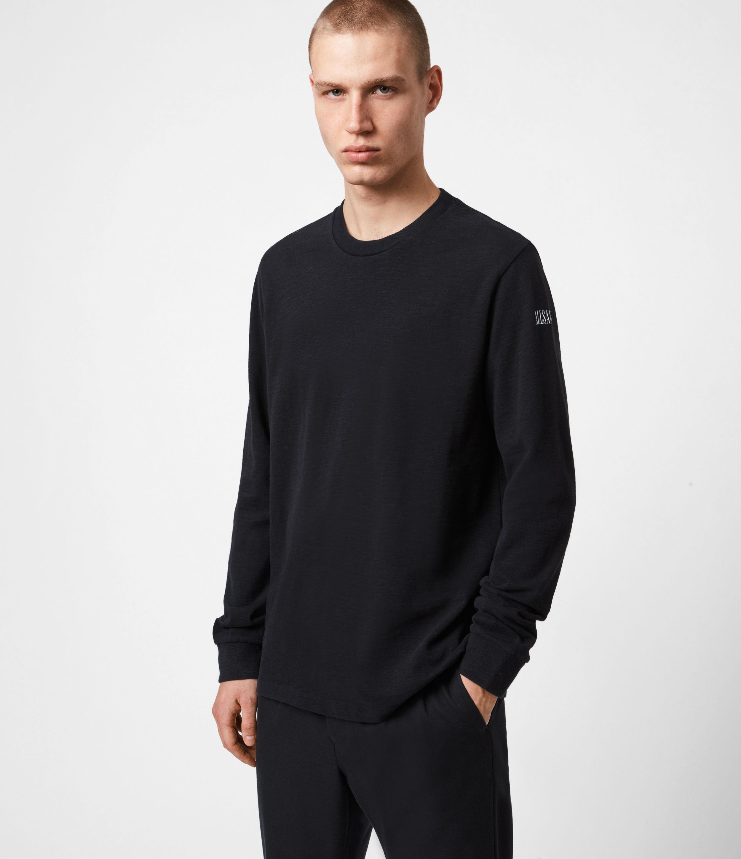 AllSaints Mens Seri Long Sleeve Crew T-Shirt, JET Black/white, Size: XS