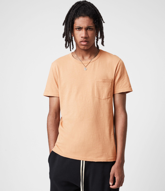AllSaints Men's Gage Organic Cotton Crew T-Shirt, Desert Rose Pink, Size: L