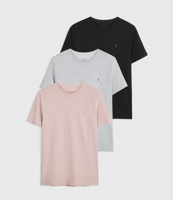 AllSaints Mens Brace Tonic 3 Pack T-Shirts, Navy/grey/pink, Size: S