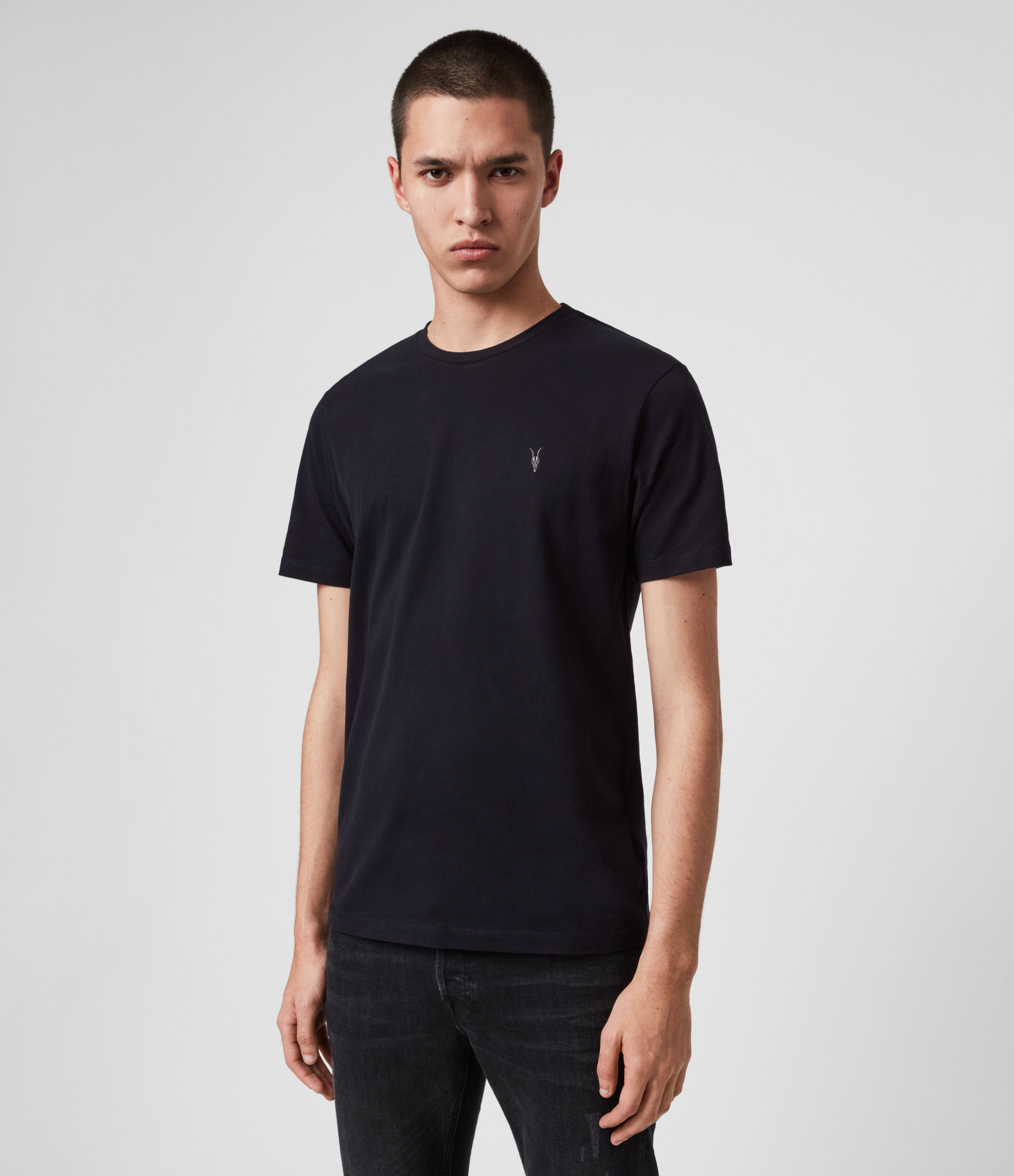AllSaints Men's Cotton Regular Fit Brace Tonic Short Sleeve Crew T-Shirt, Blue, Size: M
