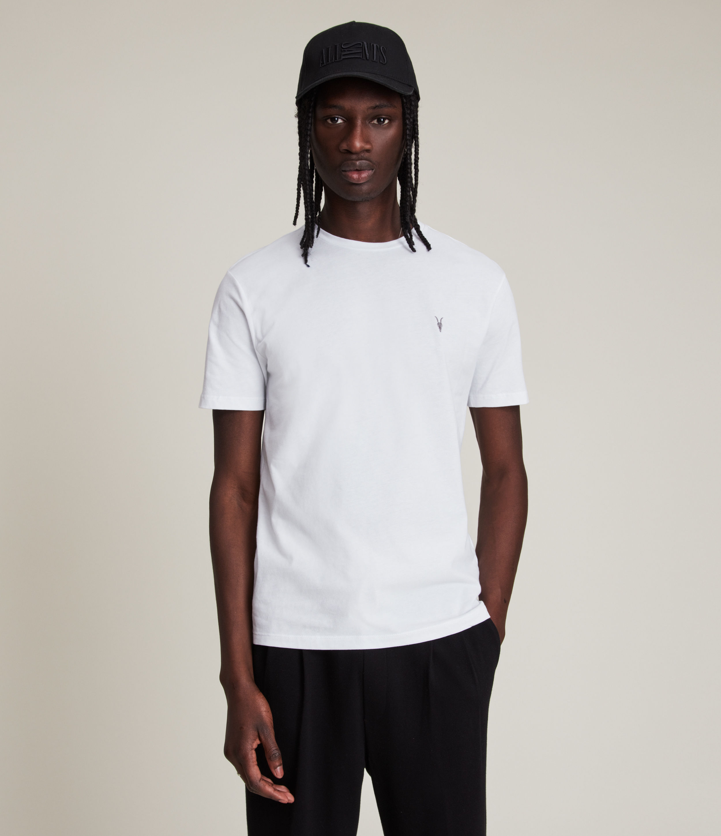 AllSaints Men's Cotton Regular Fit Brace Tonic Short Sleeve Crew T-Shirt, White, Size: M
