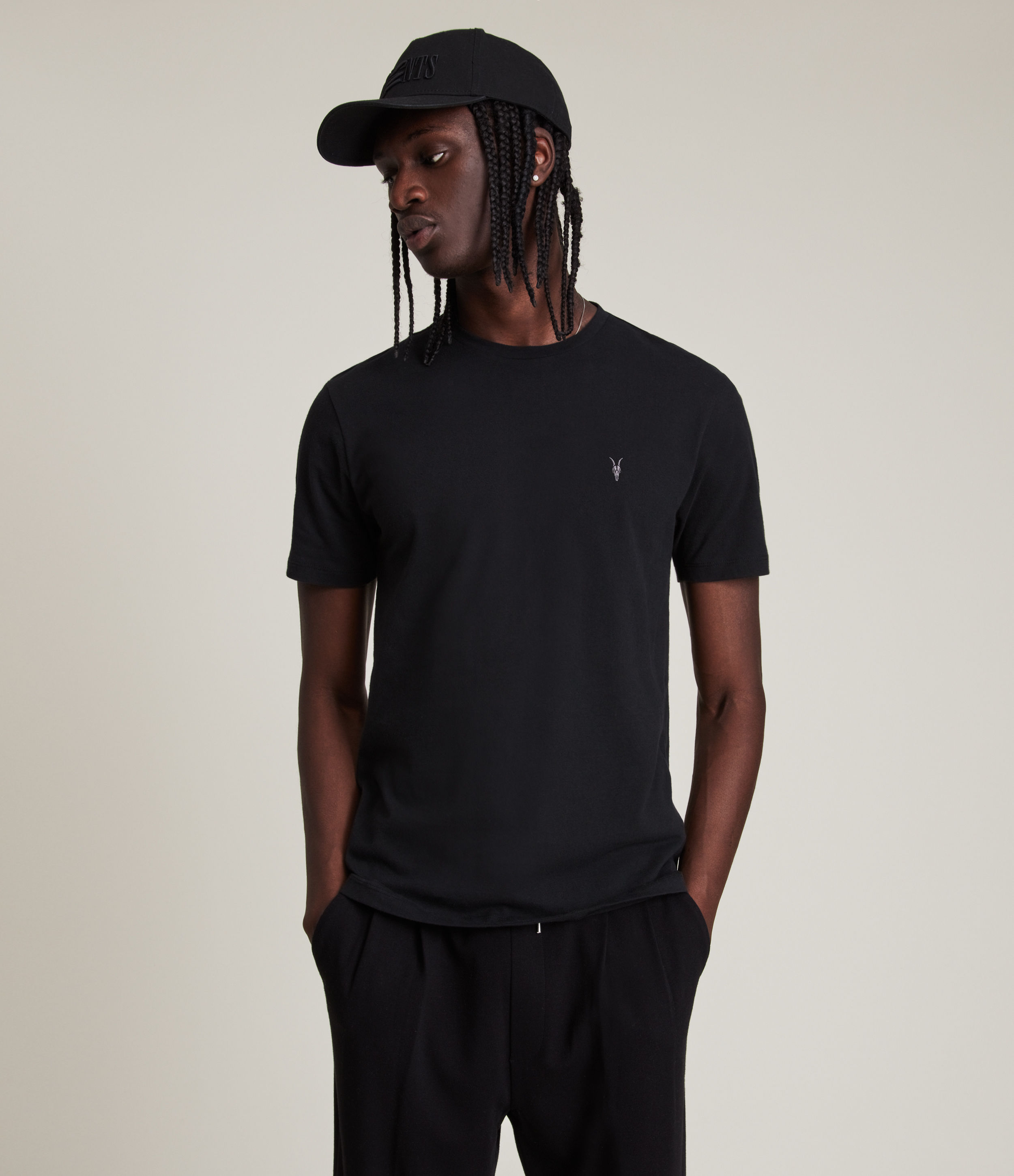 AllSaints Men's Cotton Regular Fit Brace Tonic Short Sleeve Crew T-Shirt, Black, Size: XXL