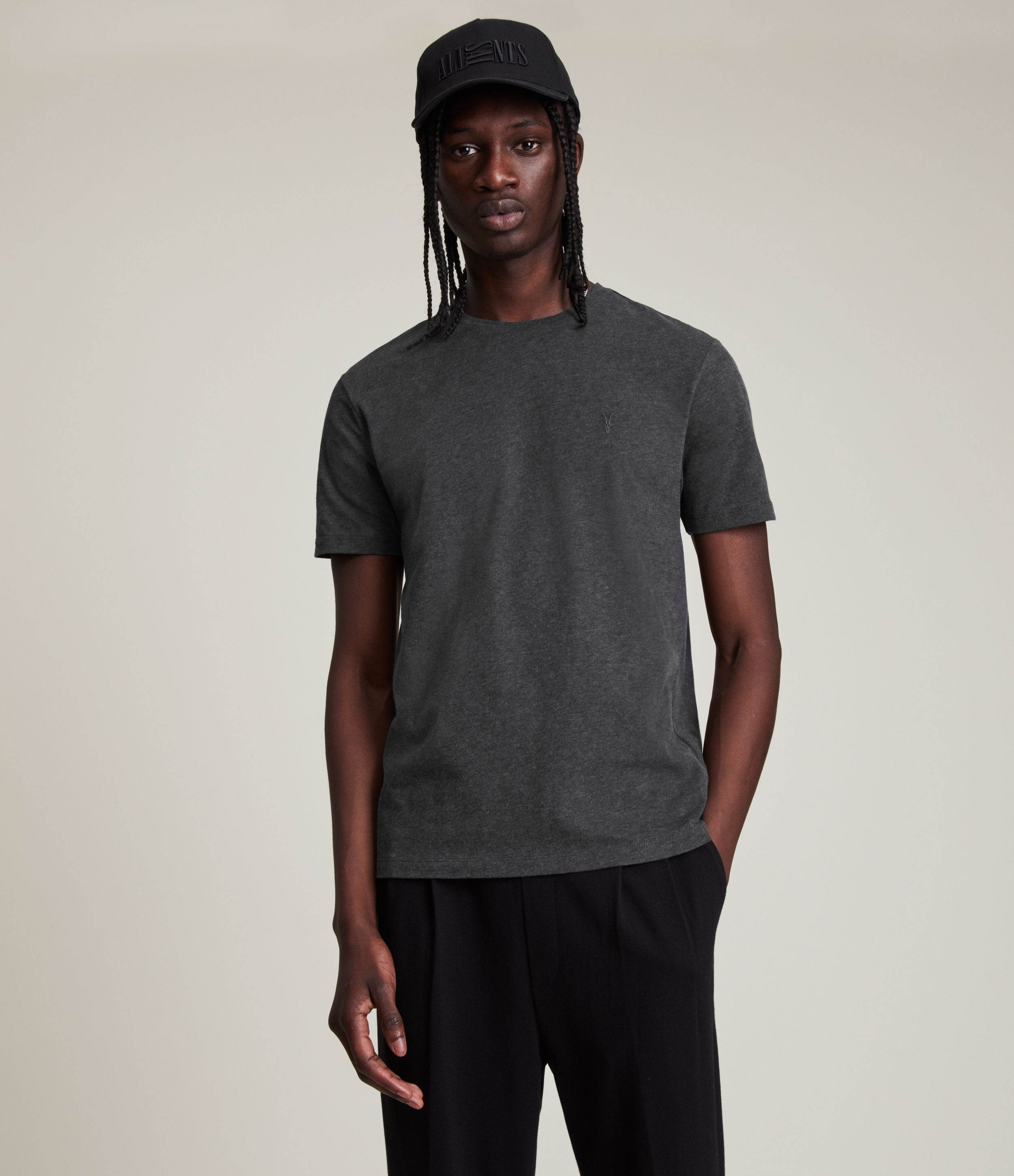 AllSaints Men's Cotton Regular Fit Brace Tonic Short Sleeve Crew T-Shirt, Grey, Size: XL