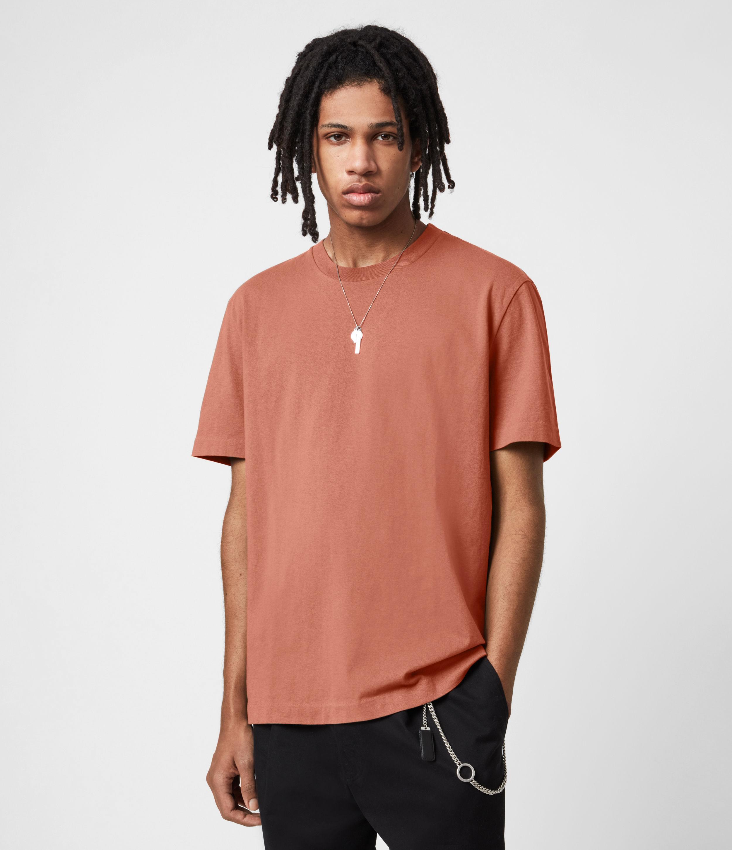 AllSaints Mens Musica Crew T-Shirt, Bronzed Pink, Size: XL
