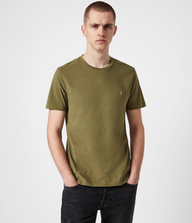 AllSaints Men's Brace Contrast Crew T-Shirt, Saguaro Green, Size: S