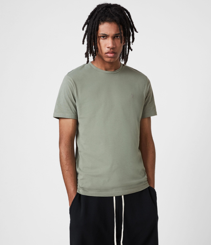 AllSaints Men's Brace Crew T-Shirt, Agave Green, Size: L