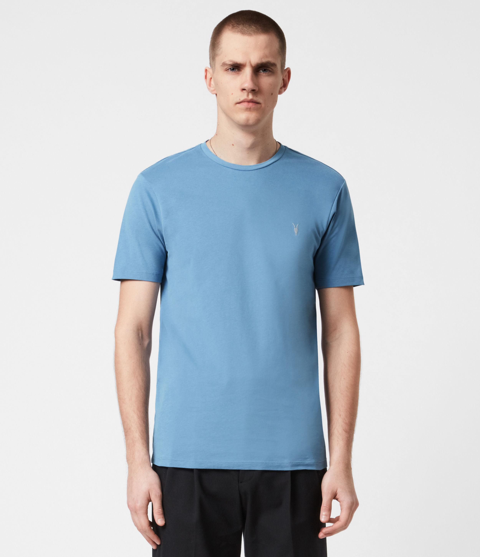AllSaints Mens Brace Crew T-Shirt, Mirage Blue, Size: XXL