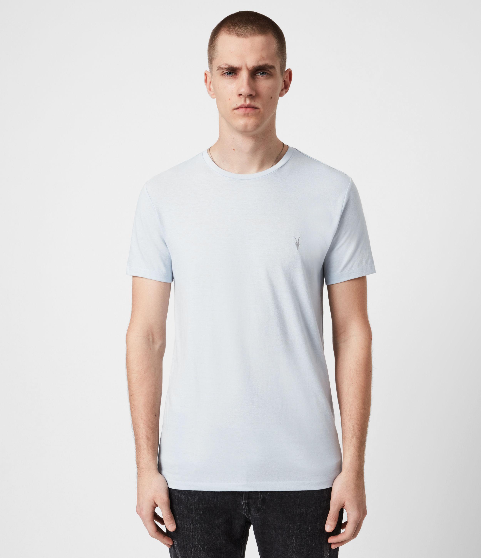 AllSaints Mens Brace Crew T-Shirt, Hazy Blue, Size: S