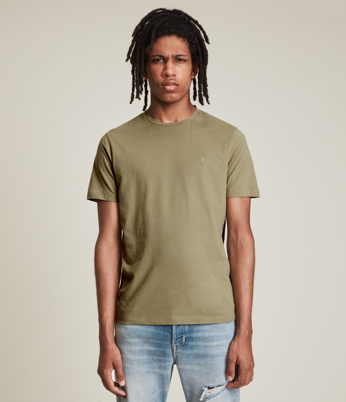 AllSaints Men's Brace Crew T-Shirt, Dusty Olive Green, Size: L
