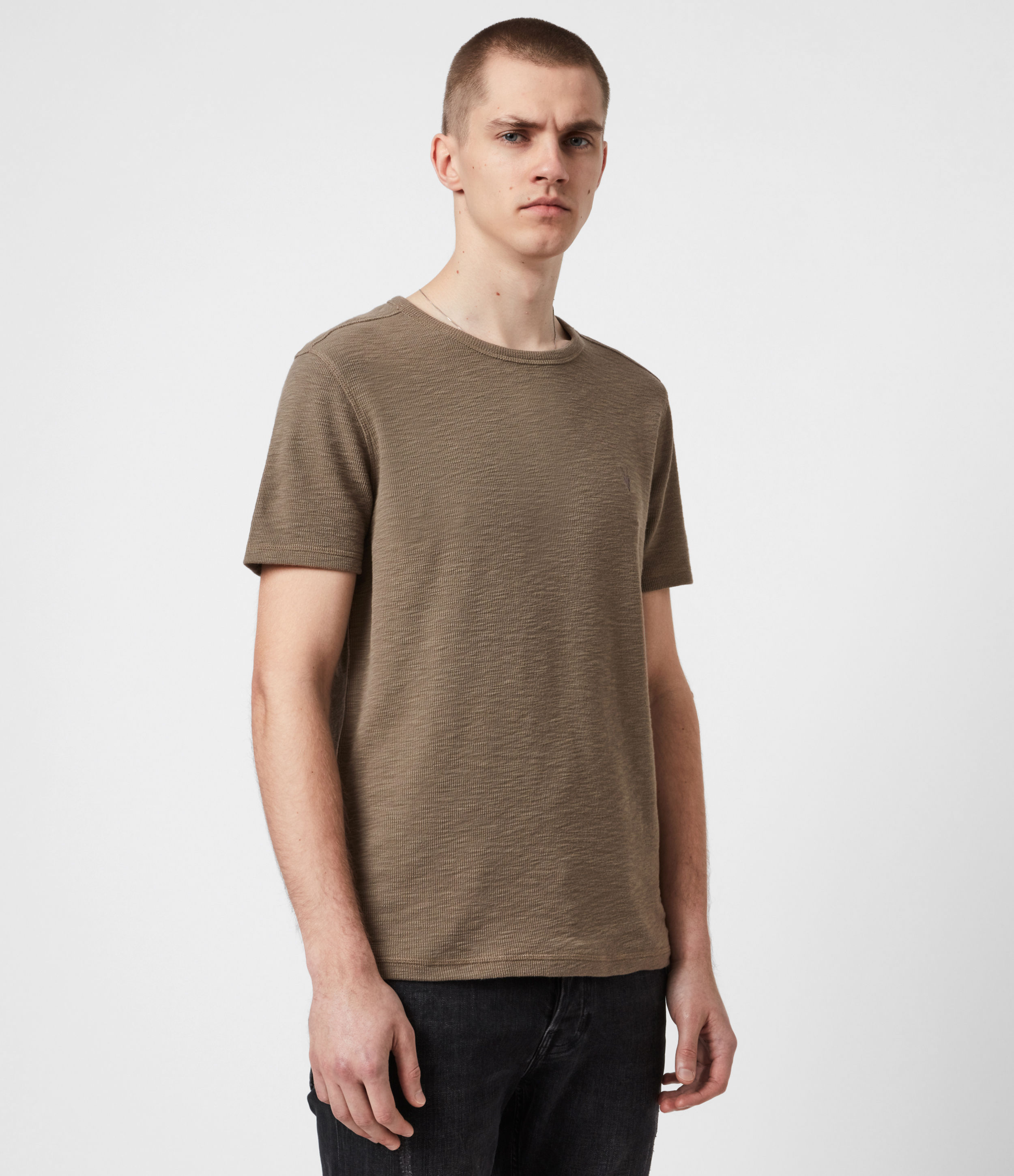 AllSaints Mens Muse Crew T-Shirt, Mangrove Brown, Size: S