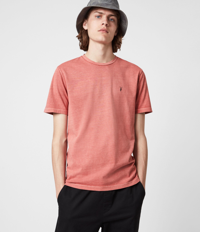 AllSaints Men's Ossage Crew T-Shirt, Sunrise Pink, Size: S