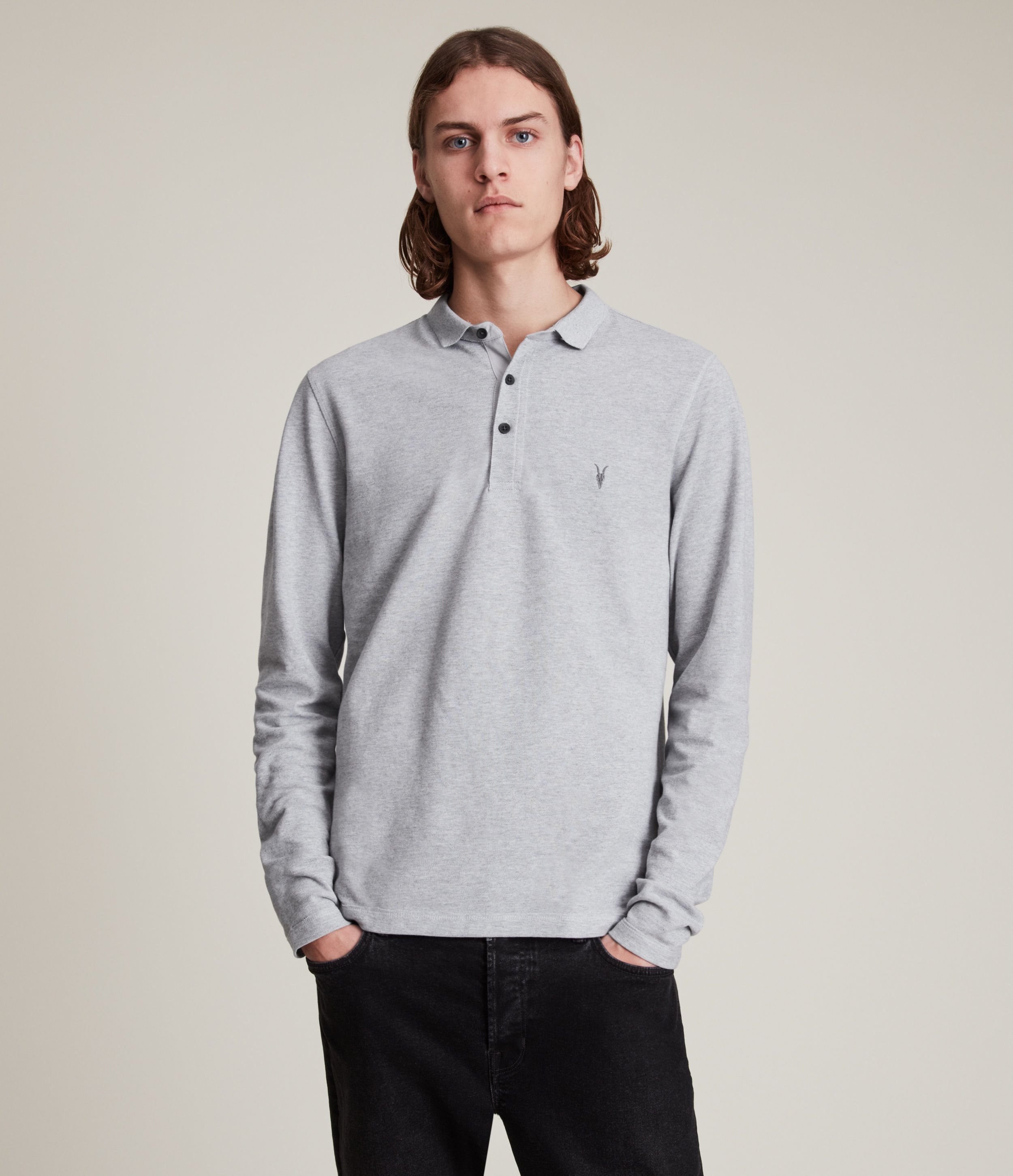 AllSaints Men's Cotton Slim Fit Reform Long Sleeve Polo Shirt, Grey, Size: L