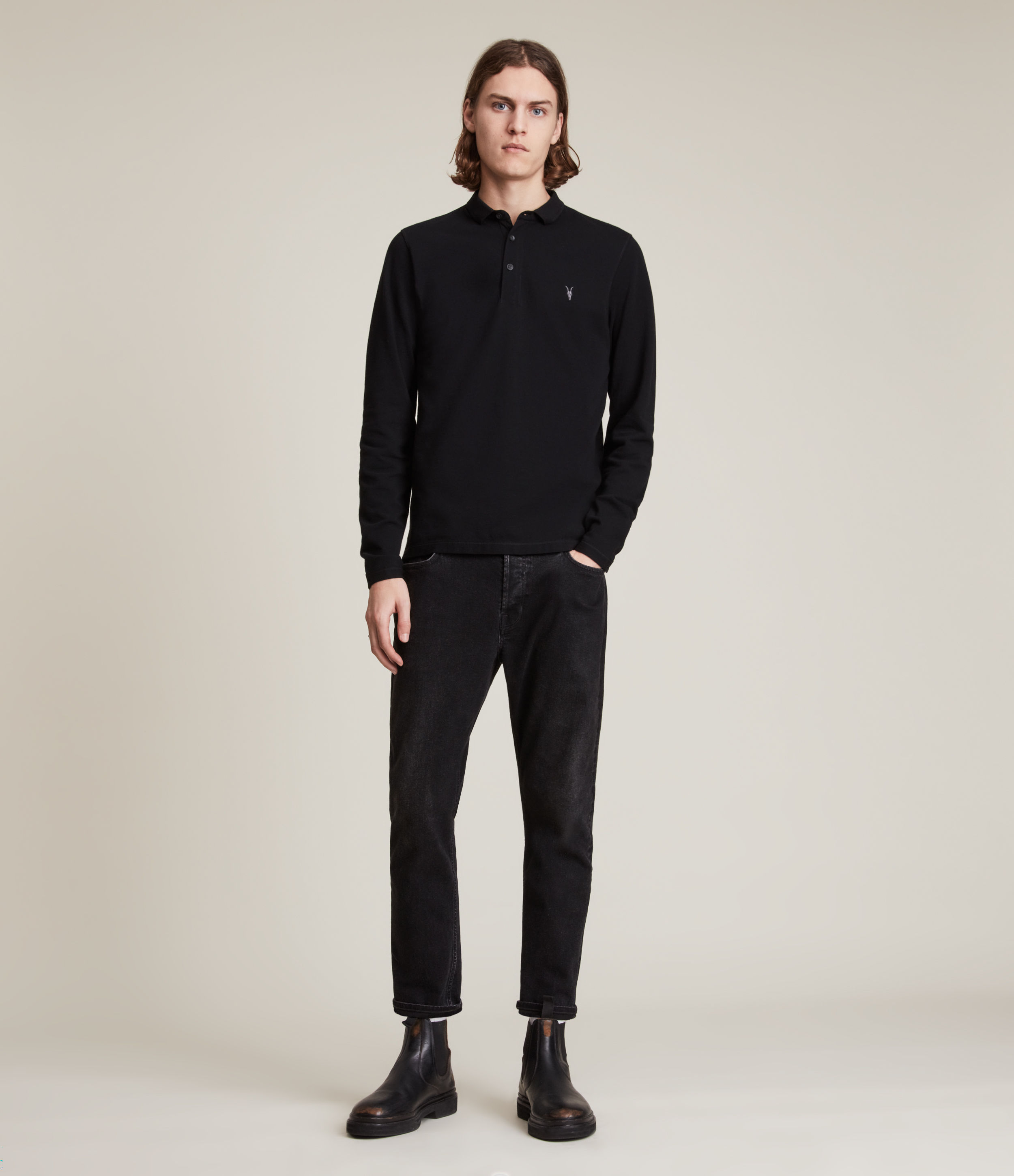 AllSaints Men's Cotton Slim Fit Reform Long Sleeve Polo Shirt, Black, Size: S