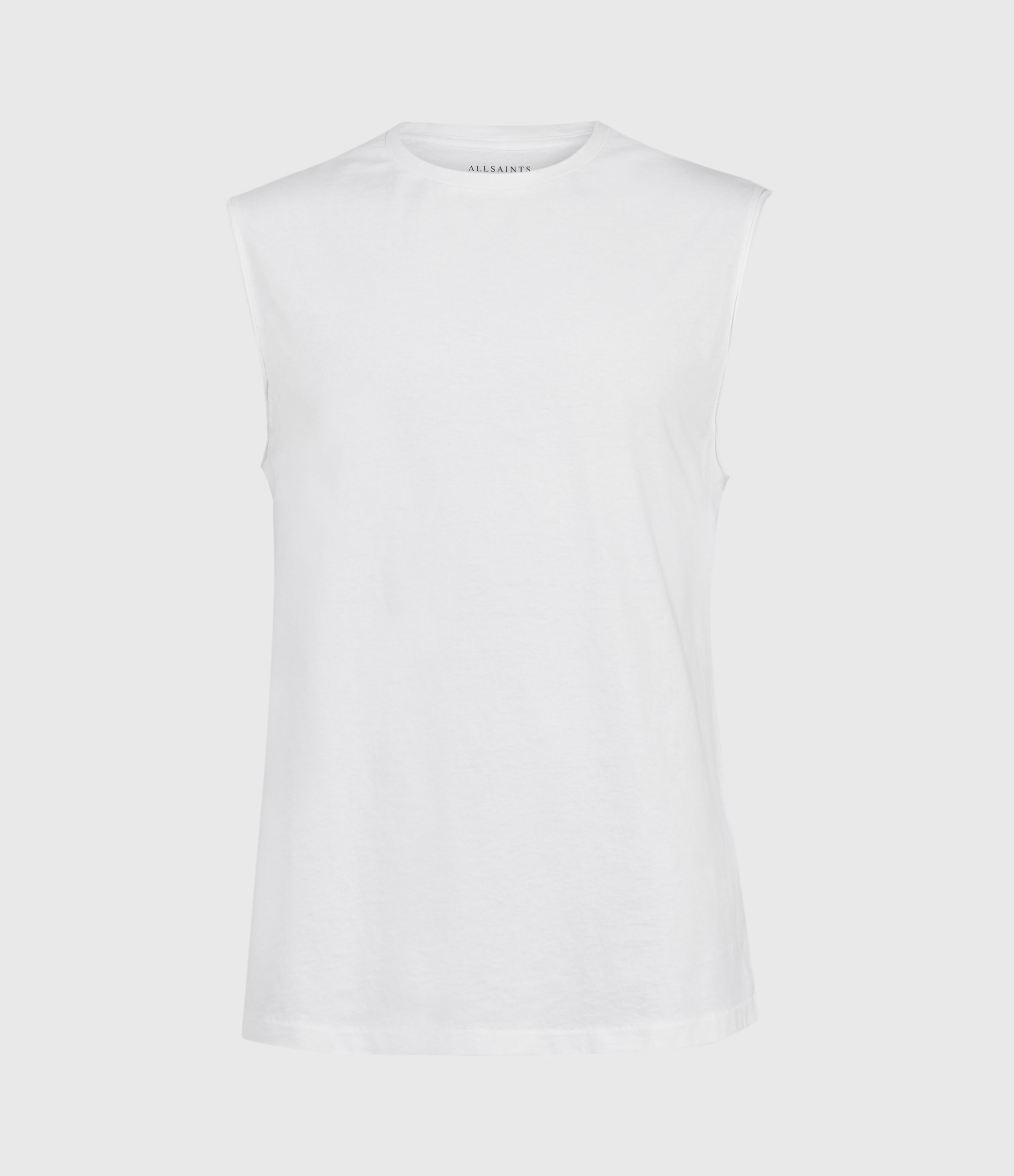 AllSaints Men's Cotton Regular Fit Vision Sleeveless Crew T-Shirt, White, Size: XXL