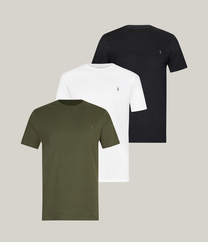 AllSaints Men's Brace Tonic Crew 3 Pack T-Shirts, Marsh/jet Blk/wht, Size: XXL