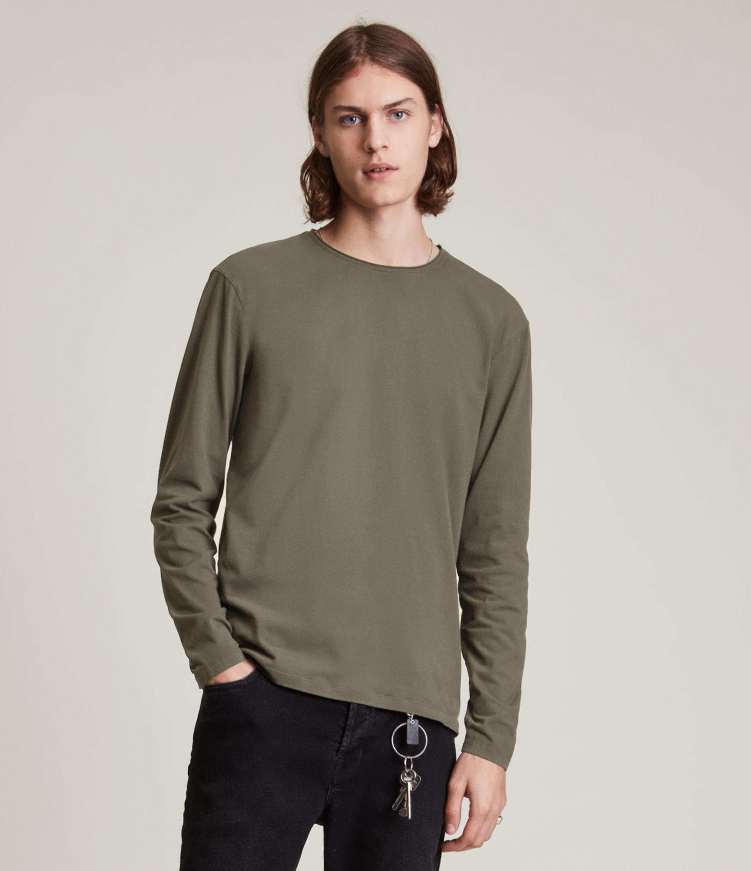 AllSaints Men's Bodega Long Sleeve Crew T-Shirt, Gunmetal Grey, Size: XL