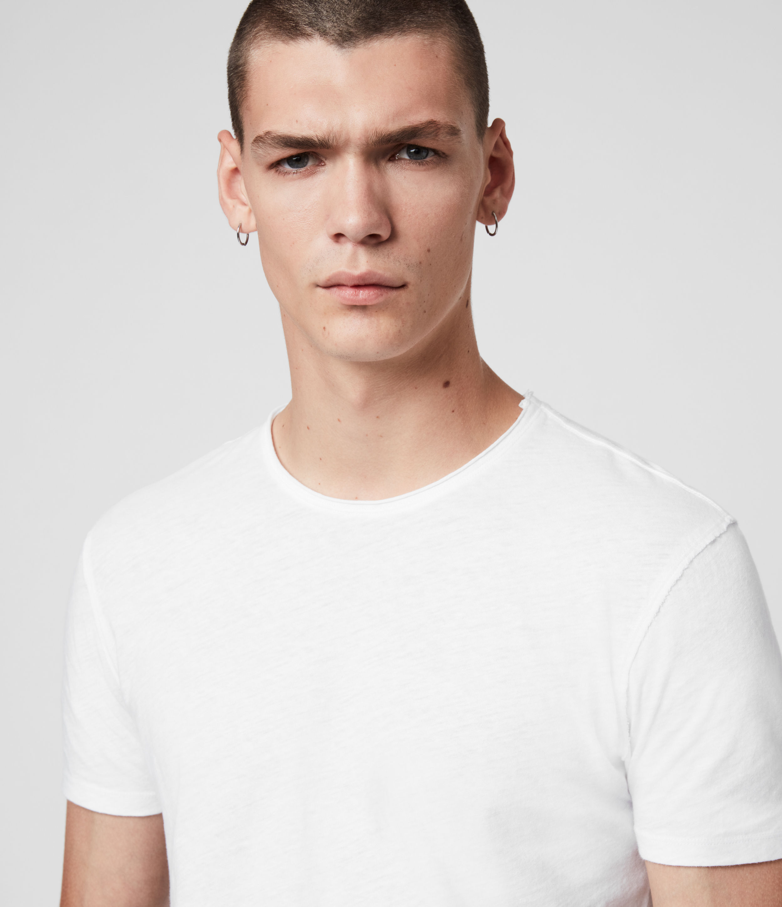 AllSaints Mens Figure Crew 2 Pack T-Shirts, White, Size: XL