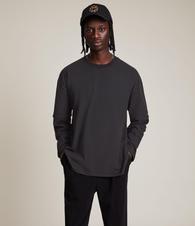AllSaints Men's Reid Organic Cotton Crew T-Shirt, Washed Black, Size: M