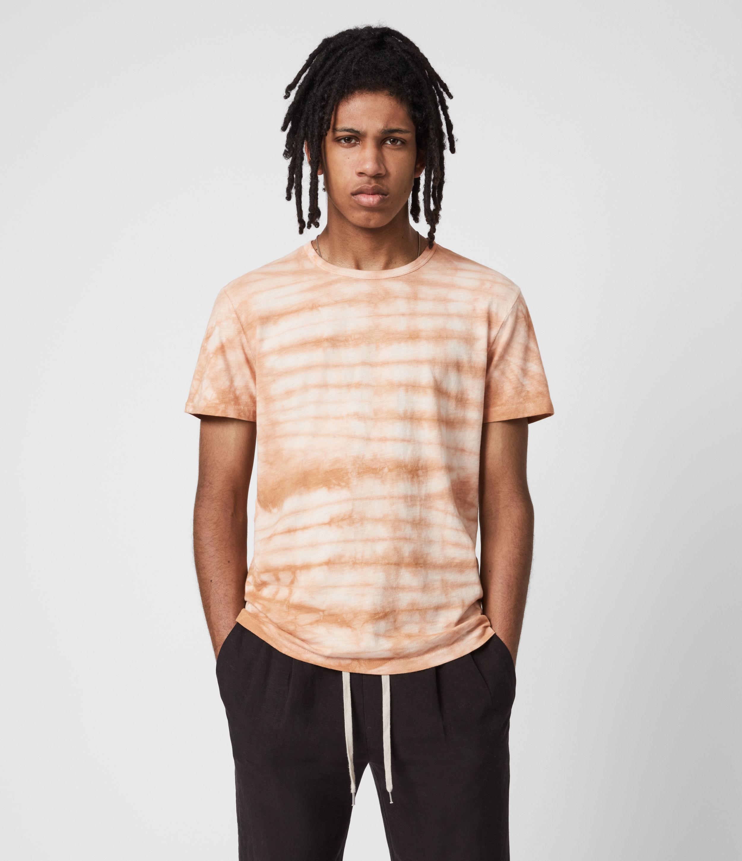 AllSaints Men's Cotton Tie Dye Print Cali Organic Crew T-Shirt, Brown, Size: S