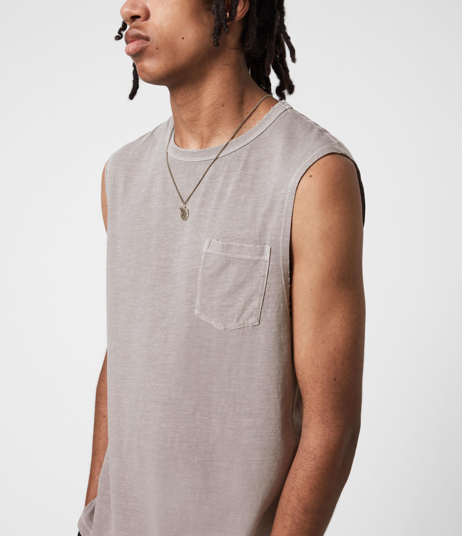 AllSaints Men's Pilot Organic Cotton Vest, Grey, Size: XXL