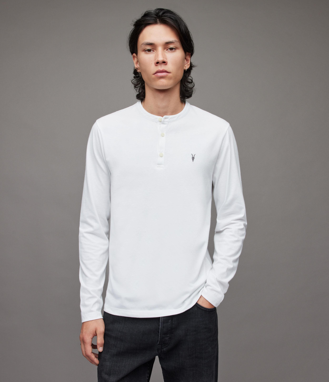 AllSaints Mens Brace Ls Henley, Optic White, Size: M