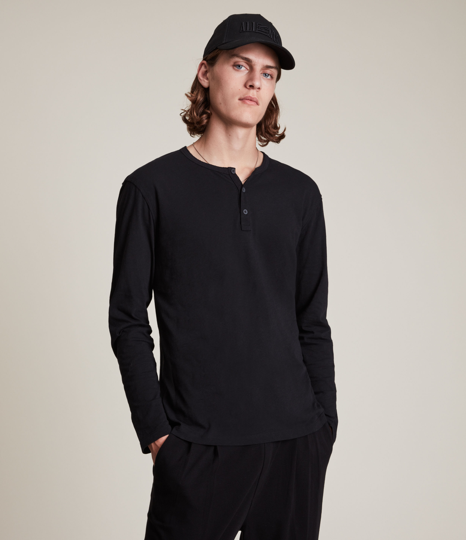 AllSaints Mens Figure Long Sleeve Henley, Jet Black, Size: L