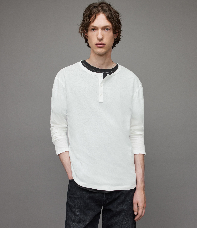 AllSaints Mens Figure Long Sleeve Henley, Optic White, Size: XL